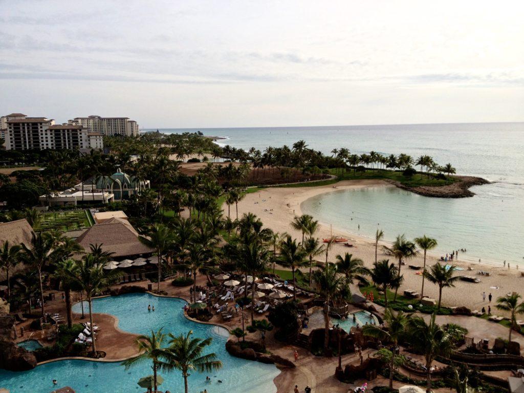 Disney DVC Aulani Hawaii aerial view of resort pool and ocean
