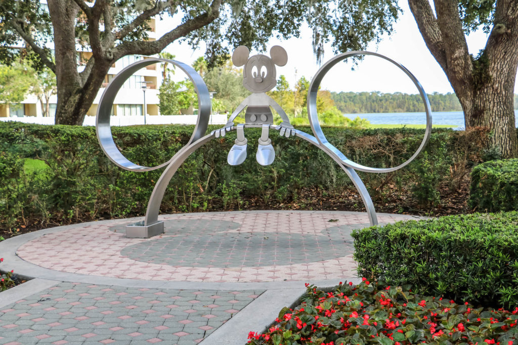 Disney DVC Bay Lake Tower outdoor Mickey Mouse sculpture