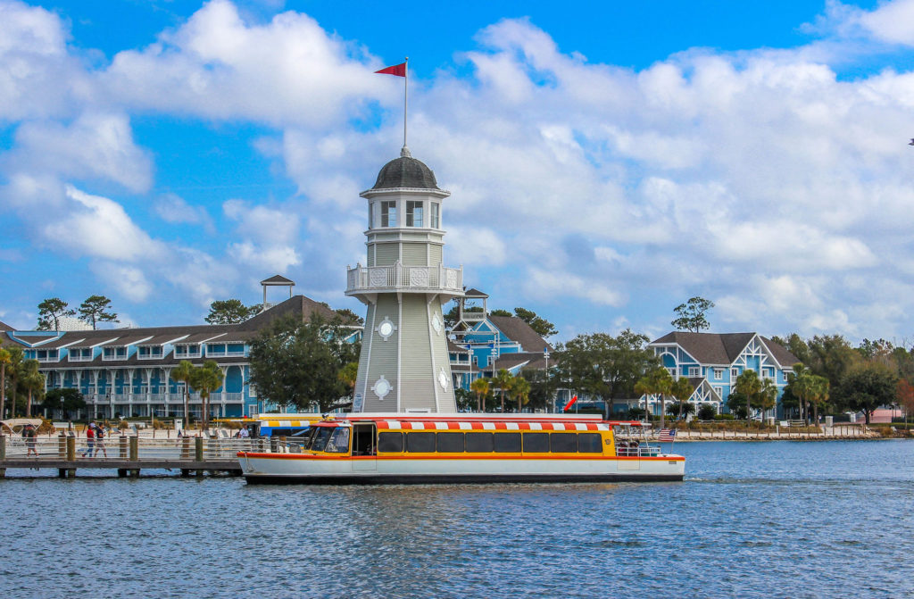 Disney DVC Beach Club Villas view of lighthouse with transportation boat