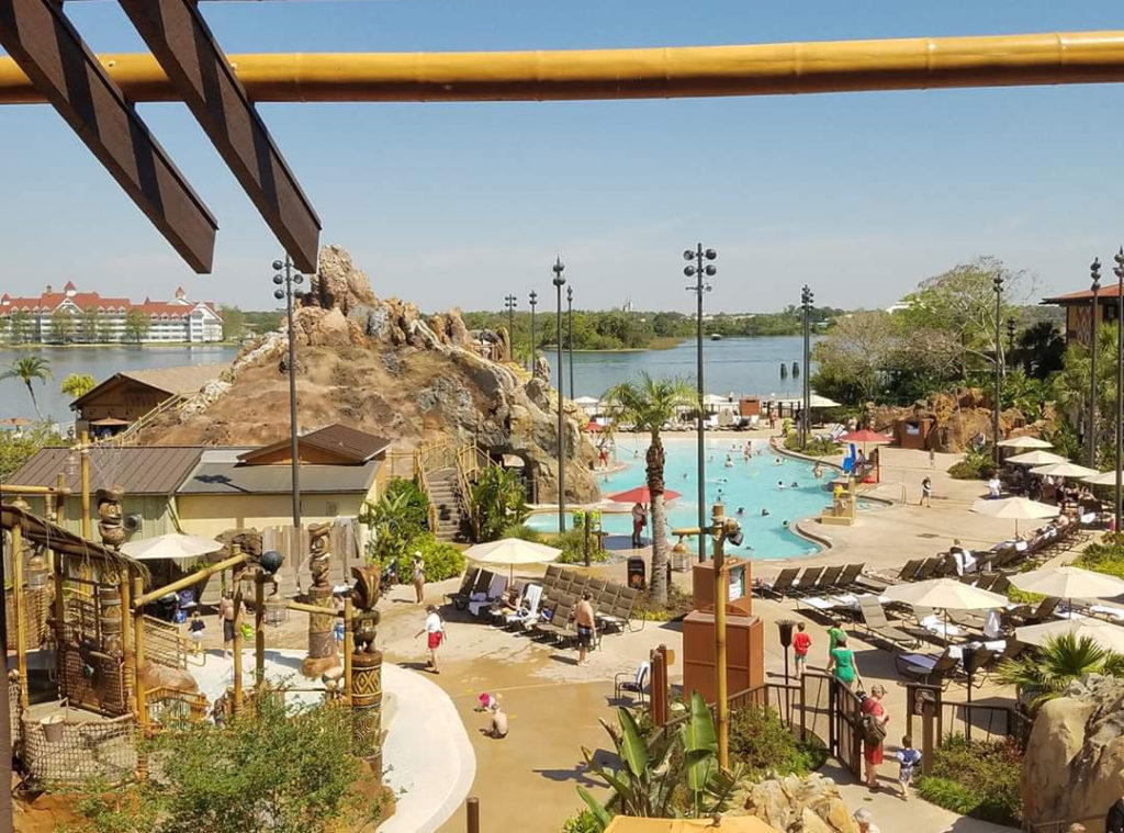 Disney DVC Polynesian view of resort grounds, pool and lake